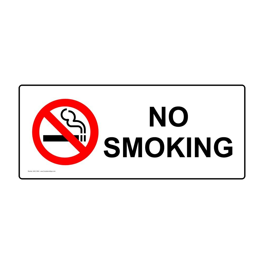 No Smoking Sign, 14x5 in. Magnetic for No Smoking, Made in The USA by ComplianceSigns