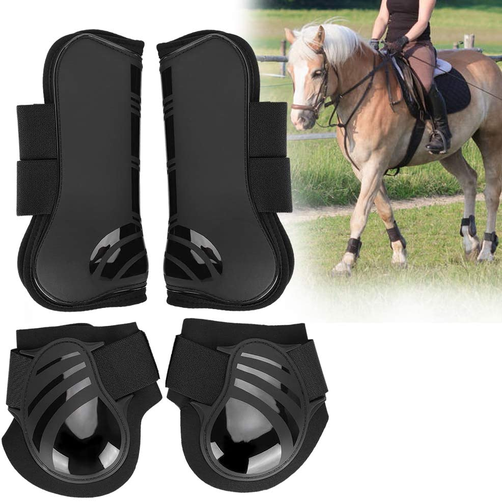 OhhGo 2 Pair Elastic Horse Boot Thicken PU Front Hind Boots Legs Protector for Training Jumping