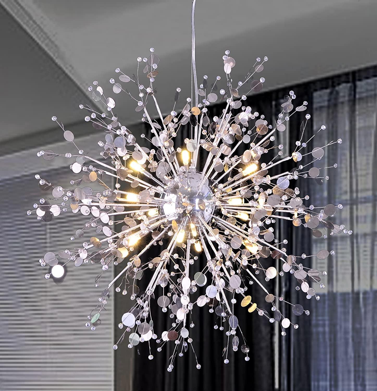 GDNS 12 Pcs Lights Chandeliers Firework LED Light Stainless Steel Crystal Pendant Lighting Ceiling Light Fixtures Chandeliers Lighting,Dia 23.5 inch