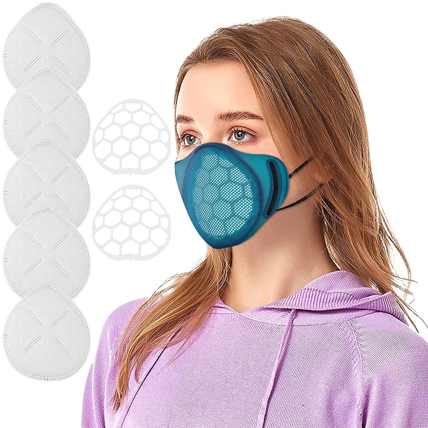 Efanhouy Adult Kids Reusable Silicone Face_mask with 5PCS Non-woven Replaceable Filters & 2 Inner Face Bracket,Unisex Dustproof Breathable Mouth Covering,Adjustable Comforts Wearing Face_masks