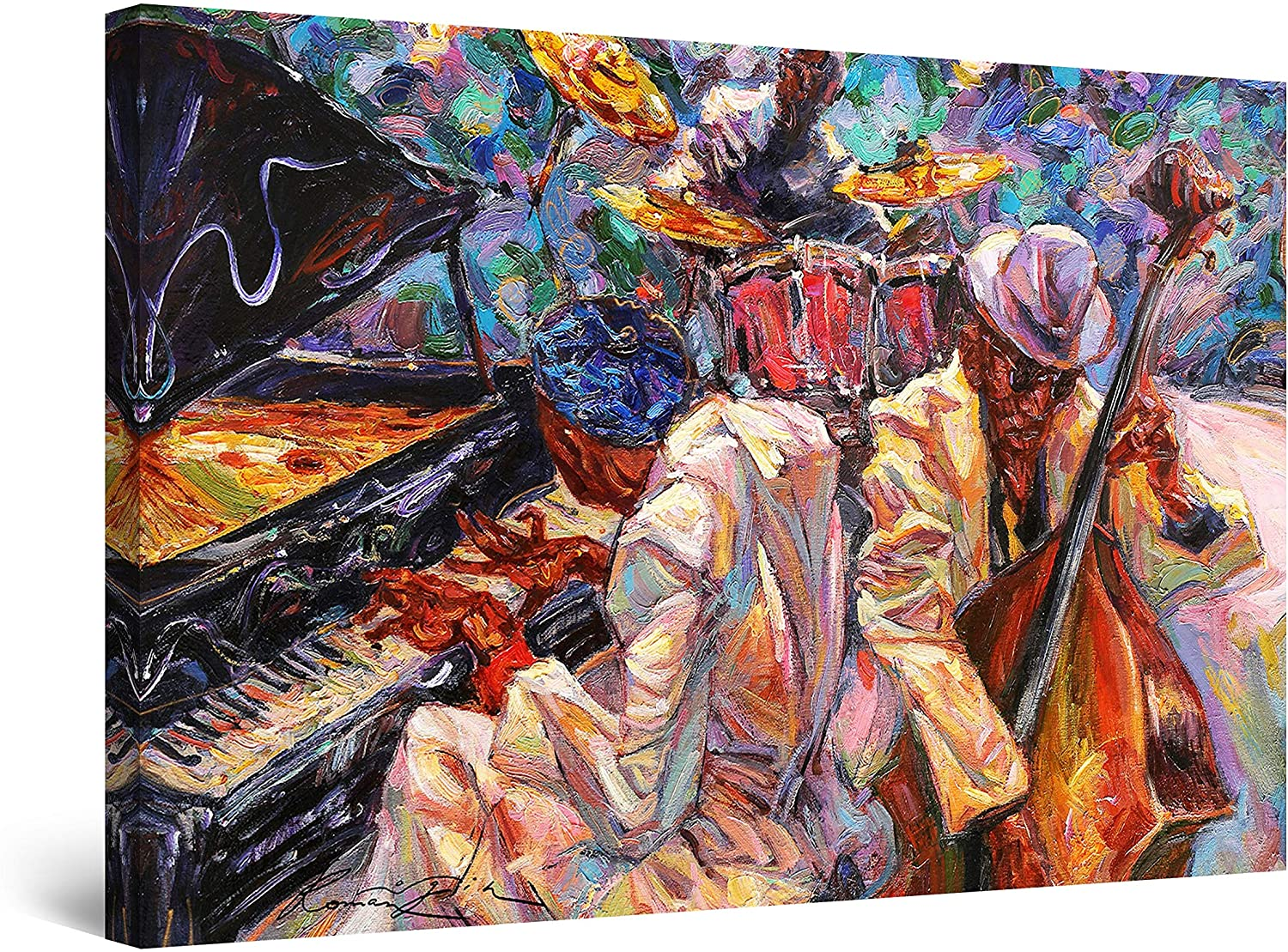 Startonight Canvas Wall Art Abstract - Orange Jazz Orchestra Music Painting - Large Artwork Print for Living Room 32