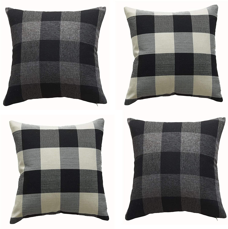 RJUP Christmas Throw Pillow Covers 18x18 Inch Black Grey White Buffalo Check Plaid and Xmas Decorative Set Cushion Case Cotton Linen Farmhouse Decorative for Sofa, Set of 4(E, 18X18inch,4 PCS)
