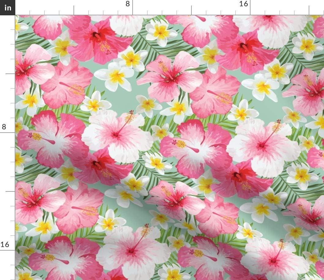 Spoonflower Fabric - Tropical Flora Hawaii Hibiscus Hawaiian Flowers Bohemian Boho Pink Printed on Petal Signature Cotton Fabric by The Yard - Sewing Quilting Apparel Crafts Decor