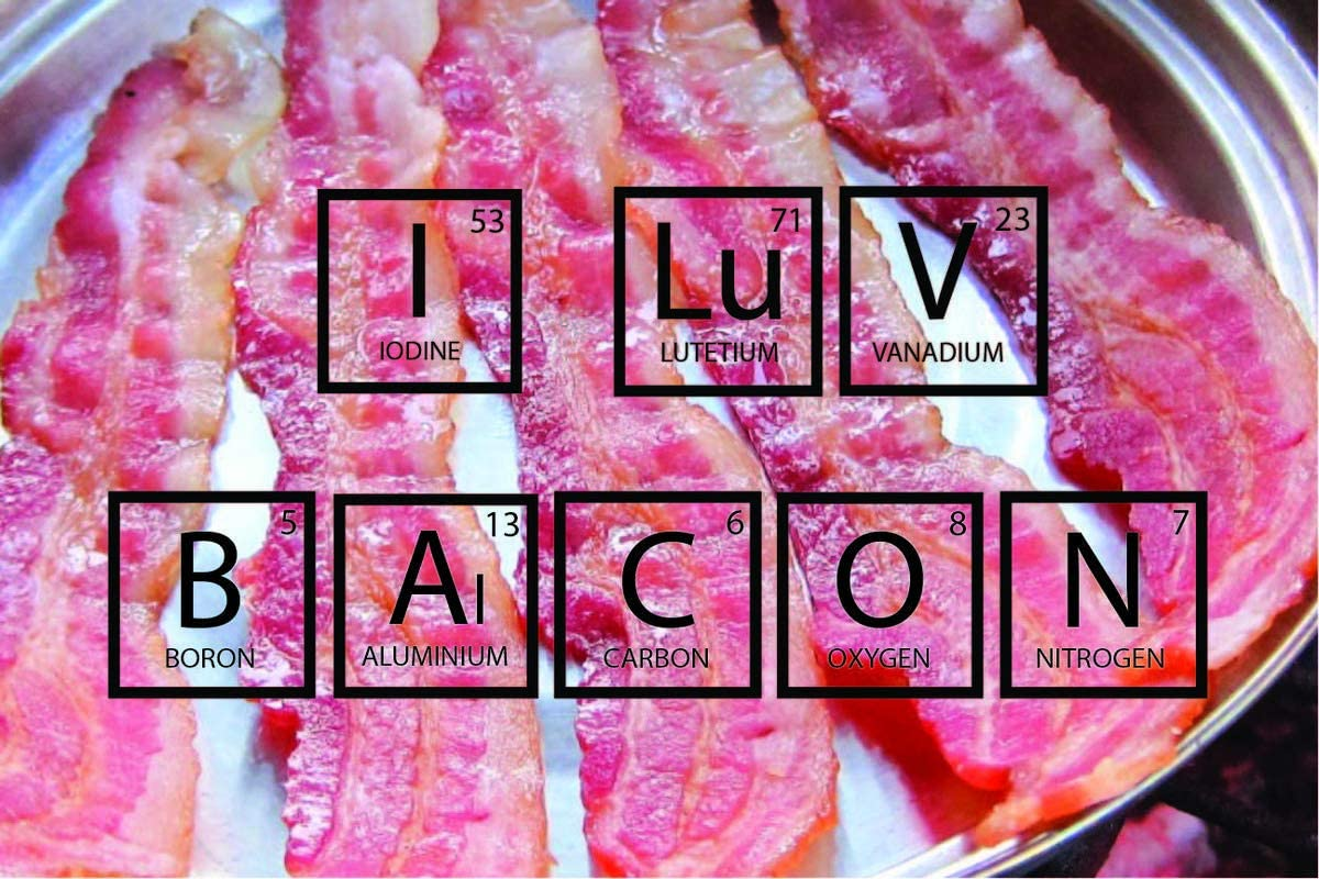 I Love Bacon Periodic Table Elements and Subatomic Particles Fun Motivational Educational Inspirational Poster 12-Inches by 18-Inches Print Wall Art CAP00004