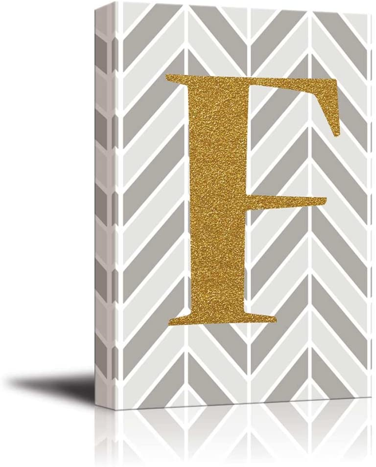 wall26 - The Letter F in Gold Leaf Effect on Geometric Background - Modern Hip Young Art Art - Canvas Art Home Art - 32x48 inches