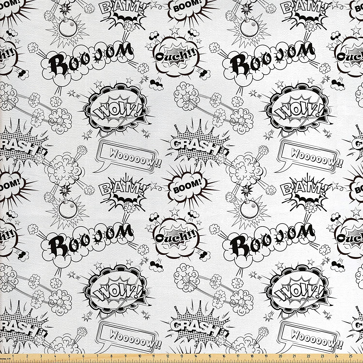 Lunarable Sketch Fabric by The Yard, Pattern with Comic Book Doodle Speech Bubbles Sound Effects Cloud Pop Art Humor, Decorative Fabric for Upholstery and Home Accents, Black and White