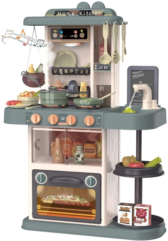 Kitchen Playset Pretend Food- Kids Cooker Role Pretend Play Simulation Kitchen with Realistic Lights & Sounds,Simulation of Spray, Play Sink with Running Water,Dessert Shelf Toy Kitchen Accessories