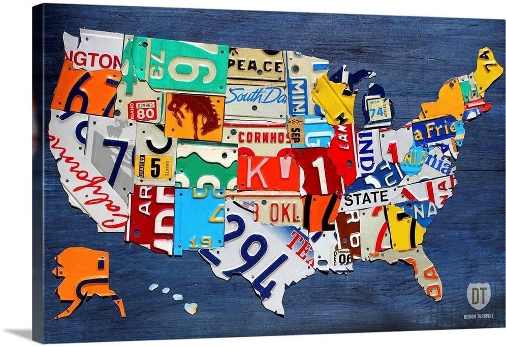 USA Map Canvas Wall Art Print, 30x20x1.25