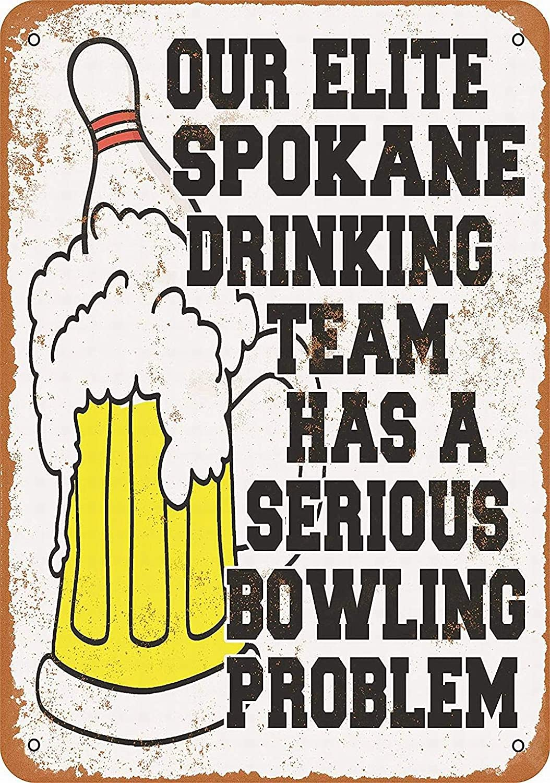 PaBoe Spokane Bowling Drinking Team - Vintage Decorative Tin Sign - 8 x 12 Metal Sign