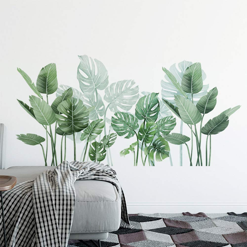 Green Tropical Leaf Wall Decor for Living Room, Nature Palm Monstera Wall Decals for Bedroom Classroom Nursery Offices Corner Skirting Wall Decorations
