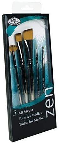 Royal and Langnickel Zen 5 Piece All Media Angular Paint Brush Set