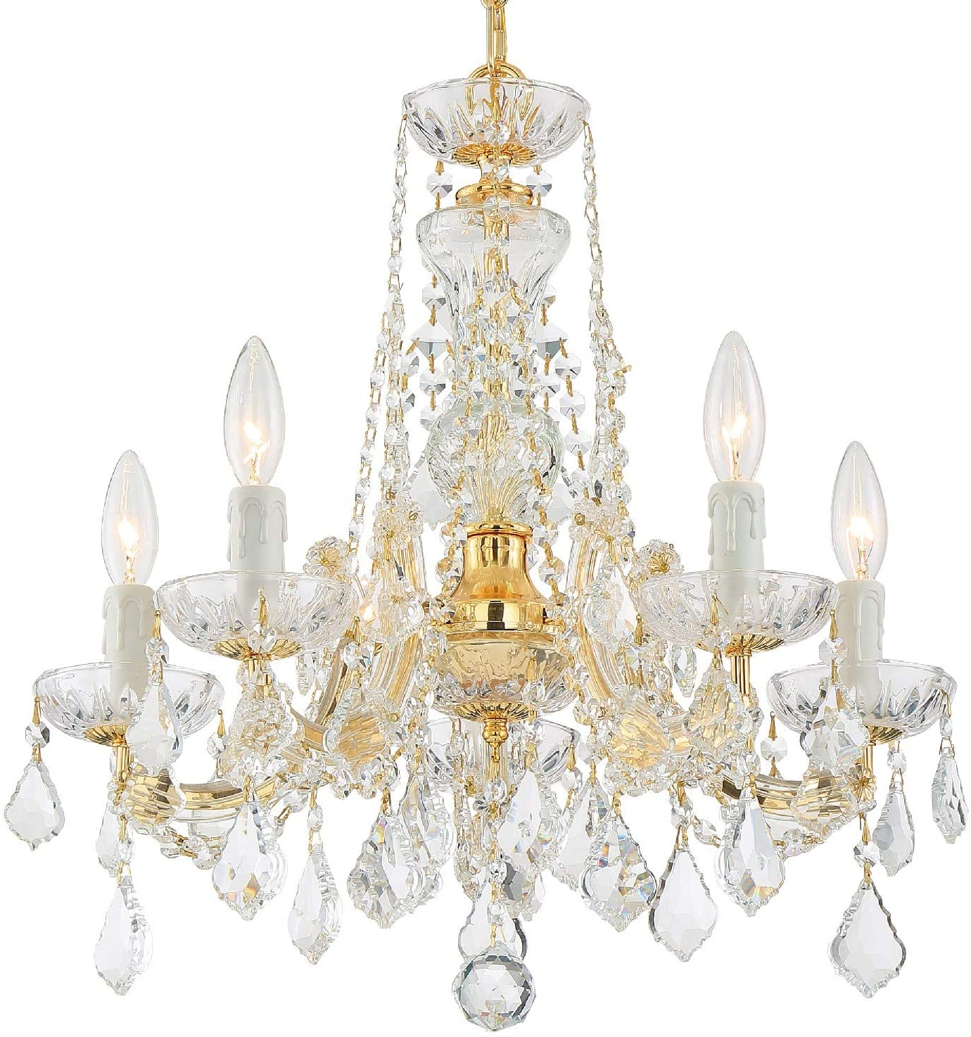 Maria Theresa 5 Light Spectra Crystal Gold Chandelier