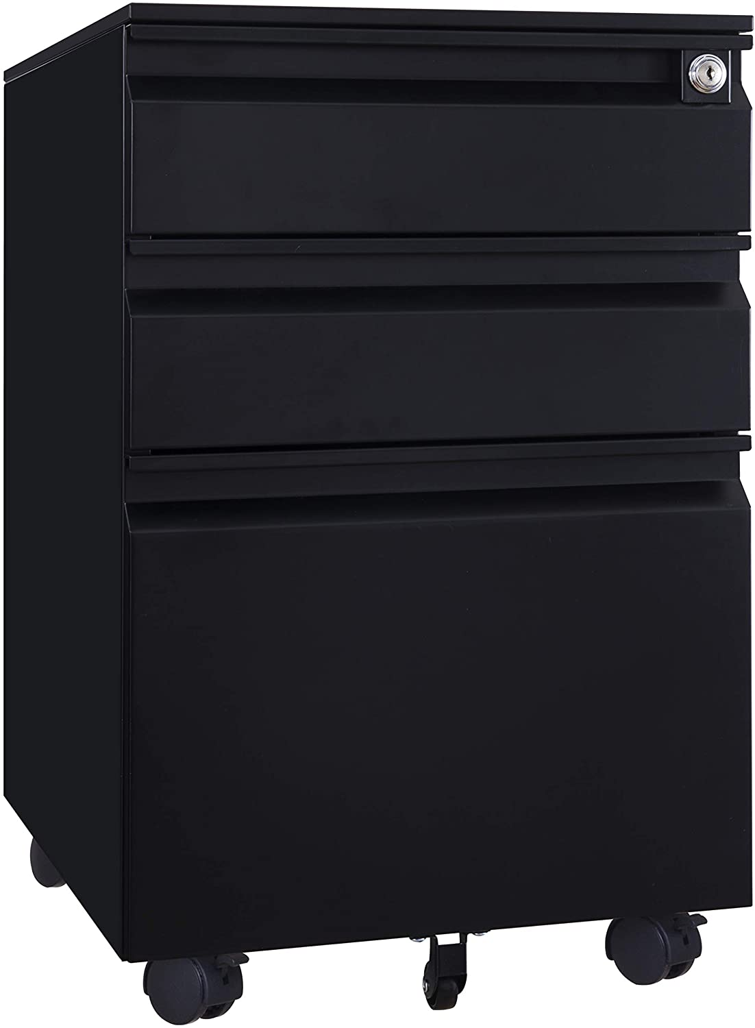 3 Drawer Mobile File Cabinet with Lock, Metal Filing Cabinet Legal/Letter Size, Fully Assembled Except Wheels (Black)