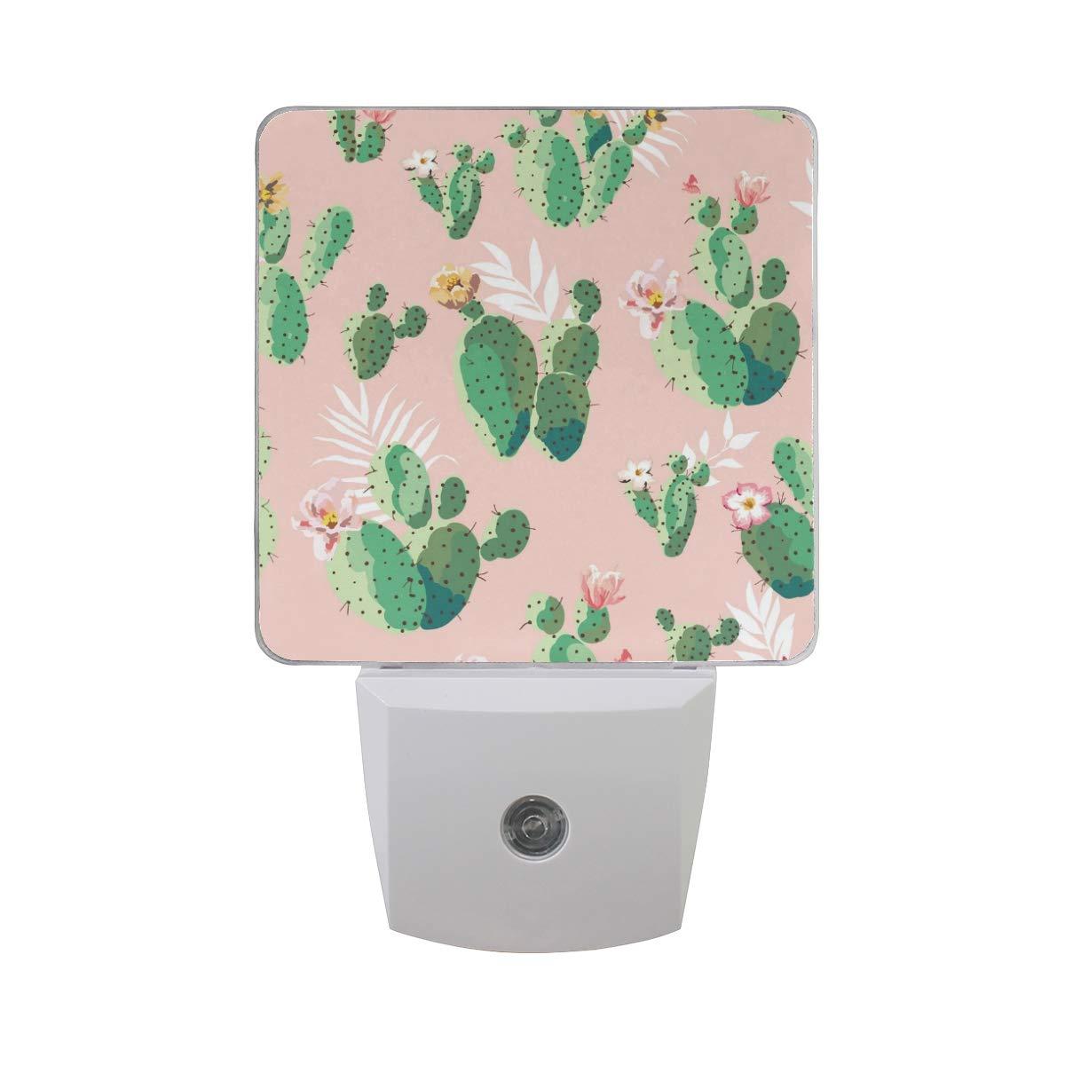 Linomo LED Night Light Lamp Vintage Cacti Cactus Auto Senor Nightlight Plug in for Kids Adults Boys Girls Bedroom Decor, 2 Pack