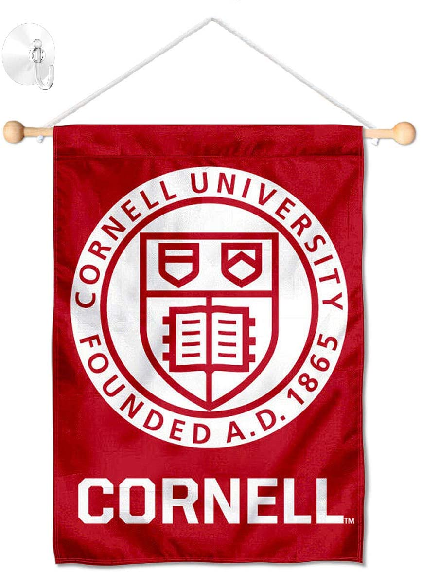 College Flags & Banners Co. Cornell Big Red Window Wall Banner Hanging Flag with Suction Cup