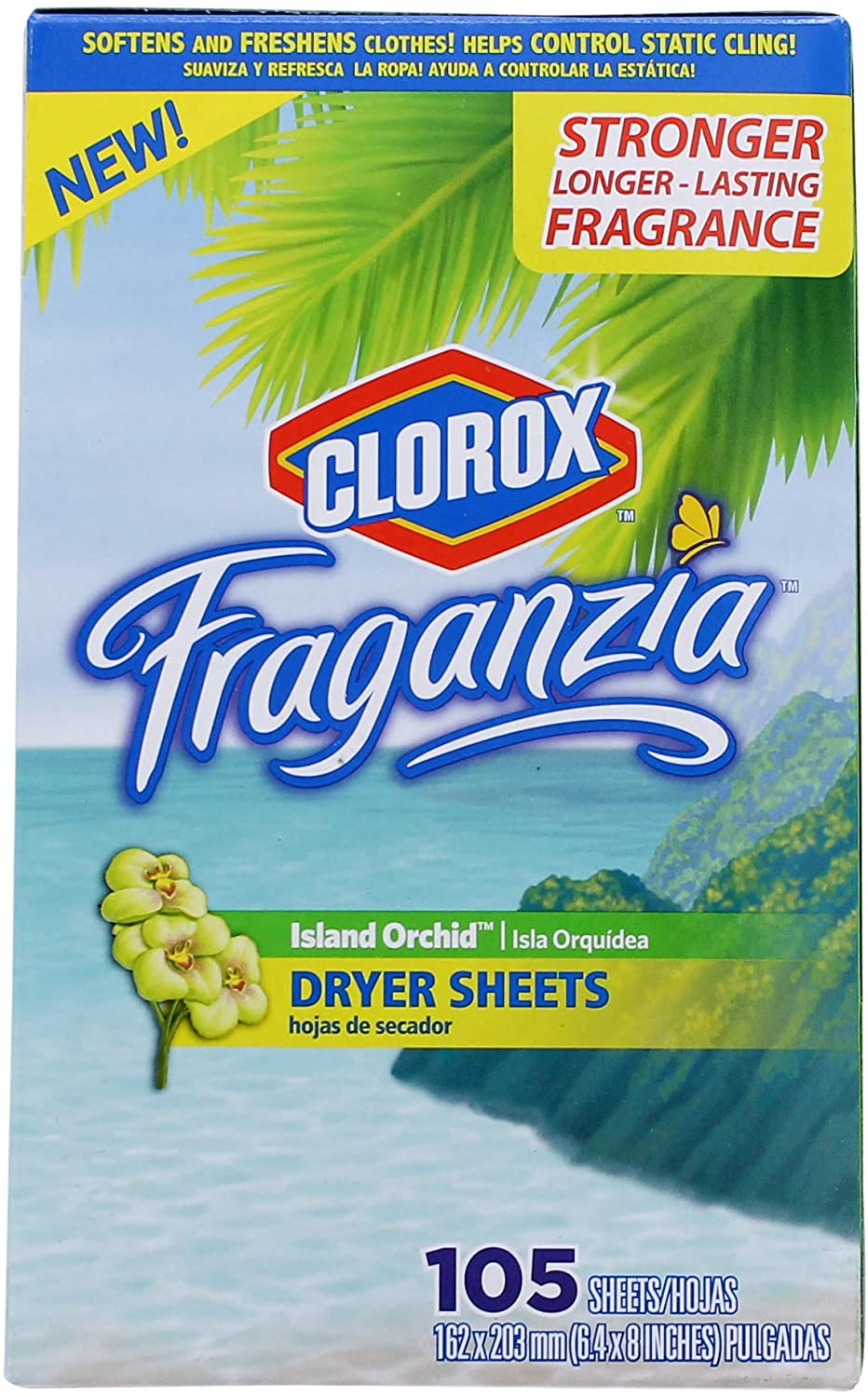 Clorox Fraganzia Fabric Softener Dryer Sheets | Scented Laundry Dryer Sheets for Great Smelling Clothes | Island Orchid Scent Laundry Sheets, 105 Count - 6 Pack