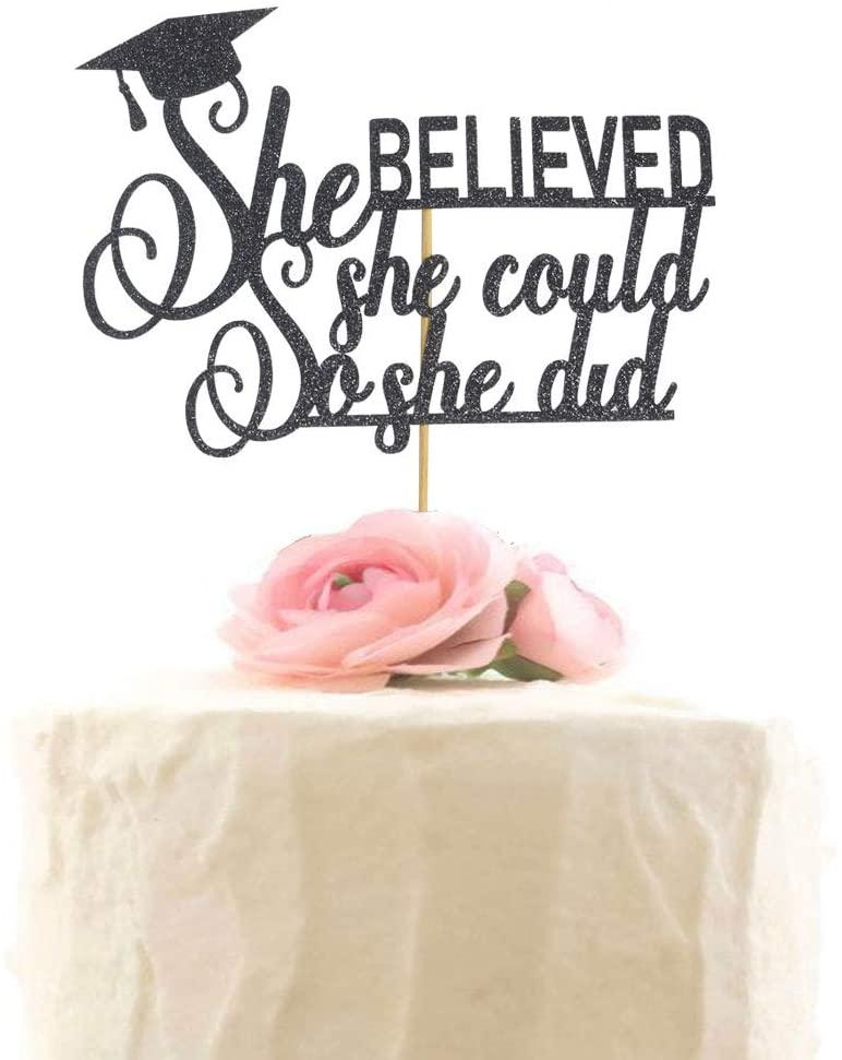 Graduation Cake Topper, She Did It Cake Sign, Congrats Grad Party Decorations, Black