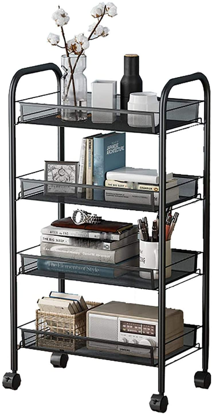 4-Tier Mesh Rolling Storage Cart, Organizer Cart on Wheels with Hook, Lockable Utility Trolley, Storage with Removable Shelves (Black)
