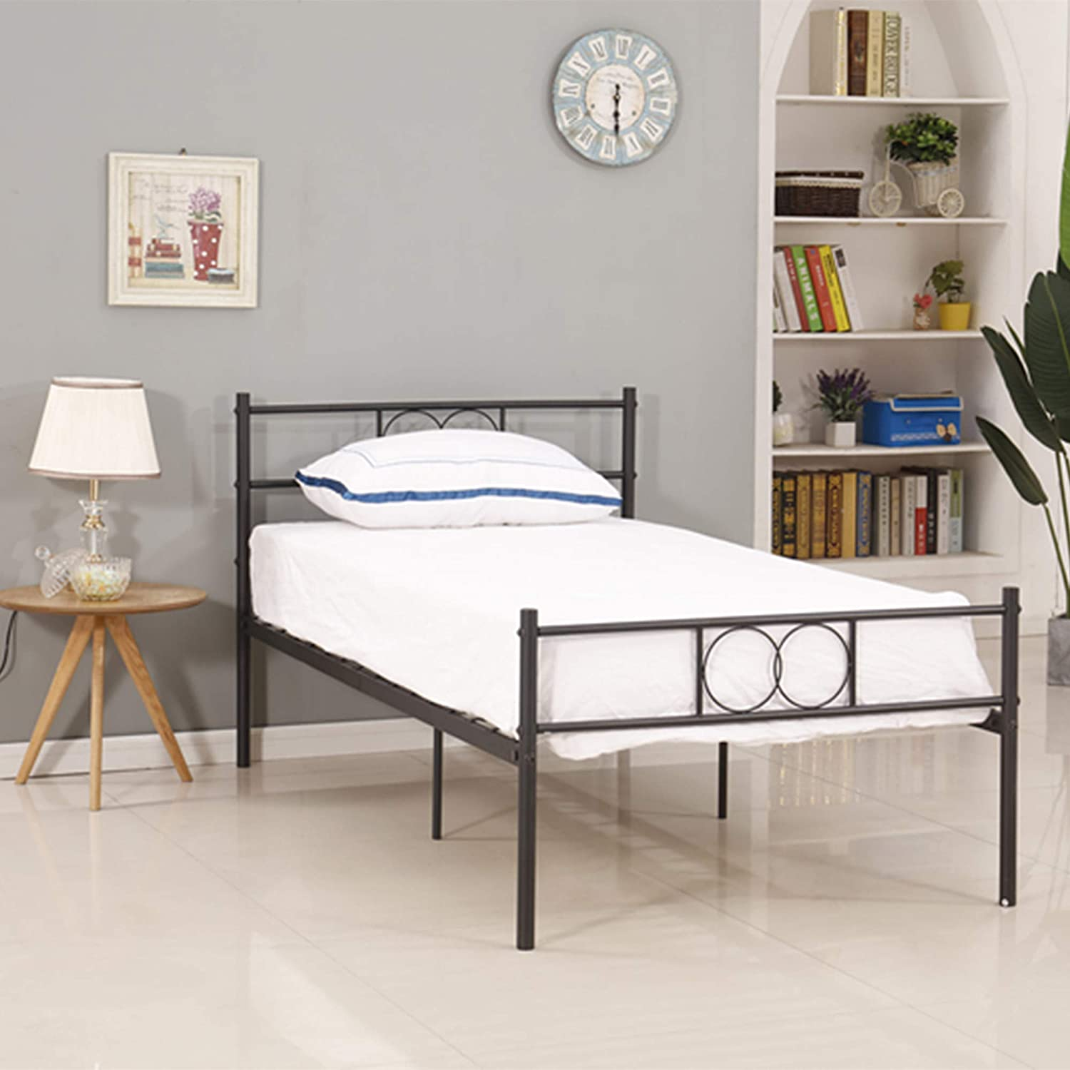 Homemark Metal Bed Frame Twin Size with Headboard, Beds Frames Underbed Storage | Single Platform Mattress Base | Noise Free | No Box Spring Needed | Black Metal Tube