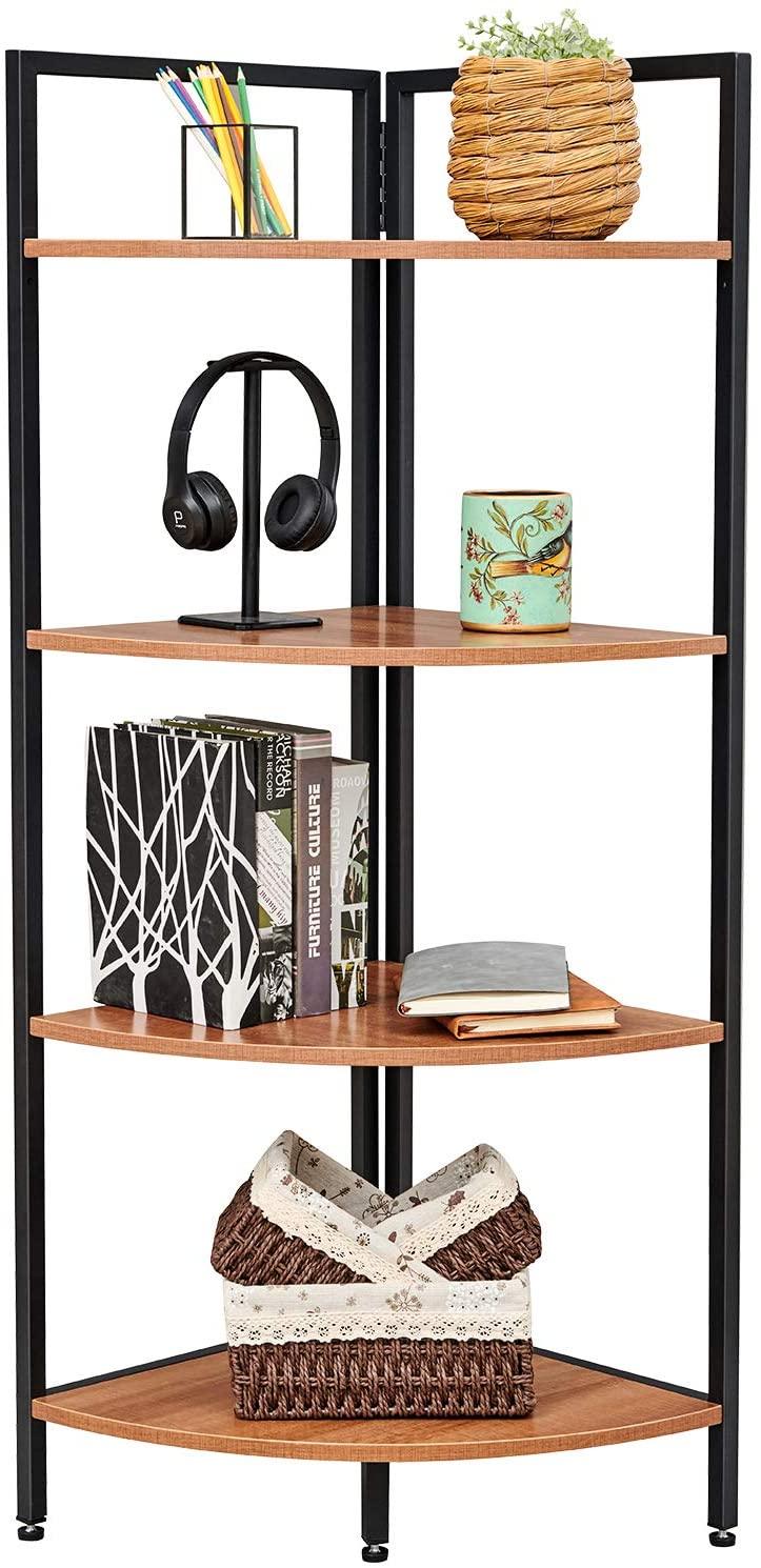 SAYGOER Corner Storage Shelf Irregular Plant Stand Triangle Standing Bookshelf Display Rack Industrial Bookcase Shelves for Small Space, Walnut Oak