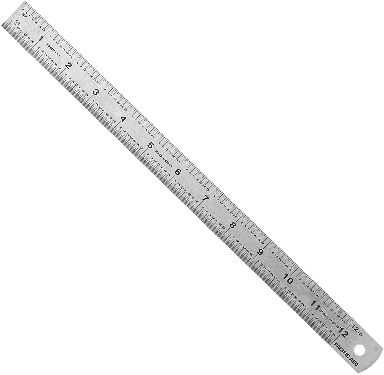 Pacific Arc Stainless Steel Ruler Inch and Metric, with 32nd and 64th Graduations, 12 Inches