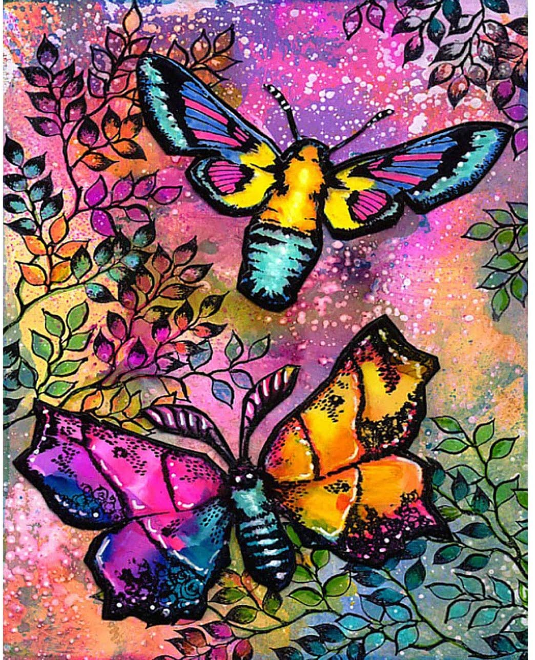 DIY 5D Diamond Painting Round Full Drill Dreamy Beautiful Butterfly, Cross Stitch Arts Paint with Diamonds Arts Craft Canvas for Home Wall Decor 16x20 inch(W9L-123)