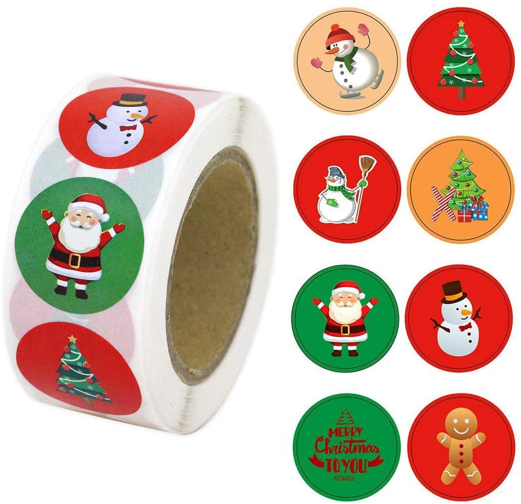 1.5 Inch Christmas Stickers, 500 Christmas Round Stickers, Decorative Gift Sealing Stickers for Christmas Gifts, Weddings, and Parties… (2)