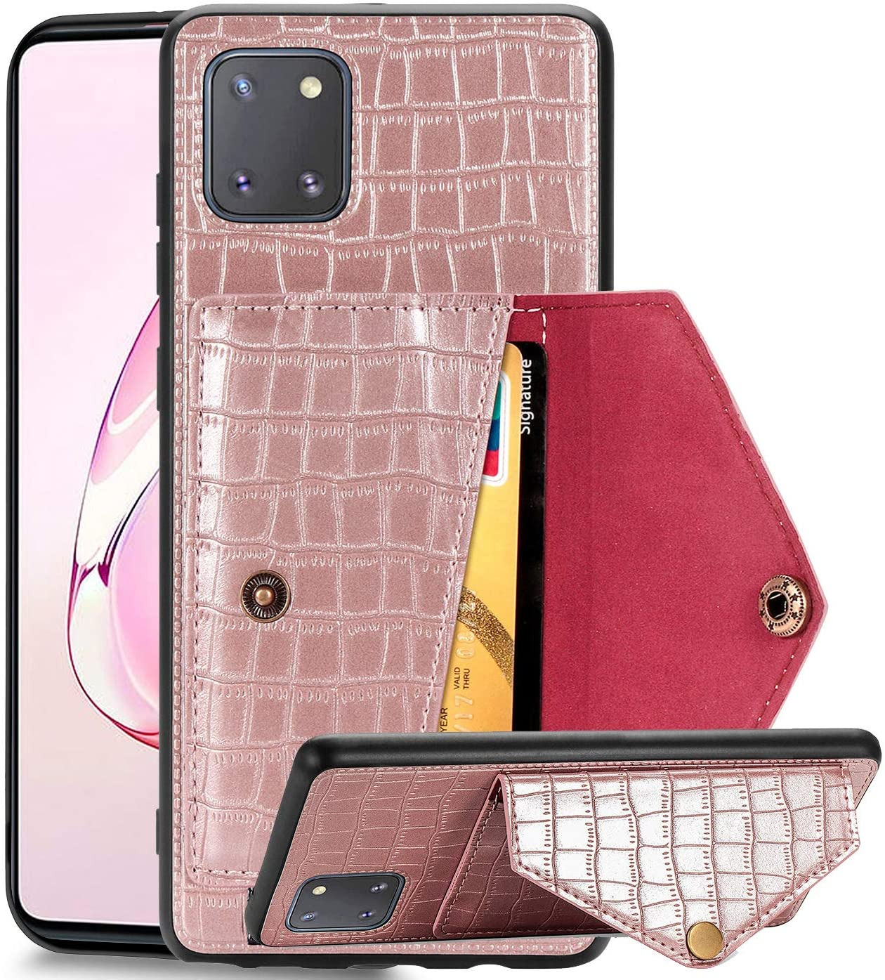 Samsung Galaxy Note 10 Lite Wallet Case with Card Holder,ZYZX Galaxy A81 Crocodile Pattern Envelope Case (Built-in Magnetic Car Mount Armor) Phone Cover for Samsung Galaxy Note 10 Lite Rose Red-EY