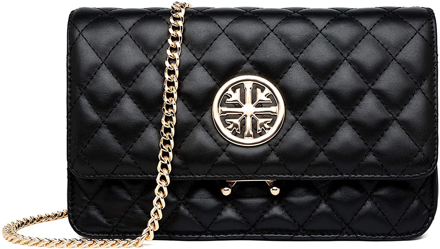 Women Genuine Leather Shoulder Bag Ladies Fashion Clutch Purses Quilted Crossbody Bags With Chain