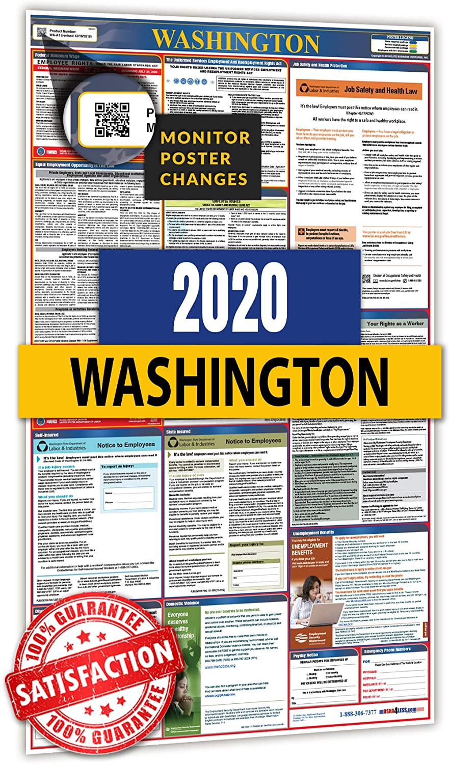 2020 Washington All in One Labor Law Posters for Workplace Compliance