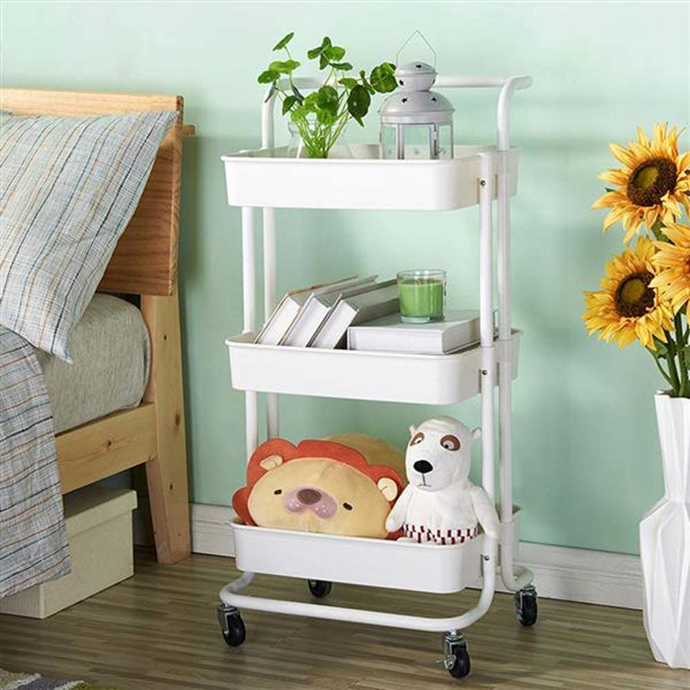 Nannday 3-Tier Rolling Utility Cart, Removable Organizer with Wheels, Metal&ABS Multifunction Assembly Storage Trolley with Handle for Beauty Bathroom Kitchen Office (White)