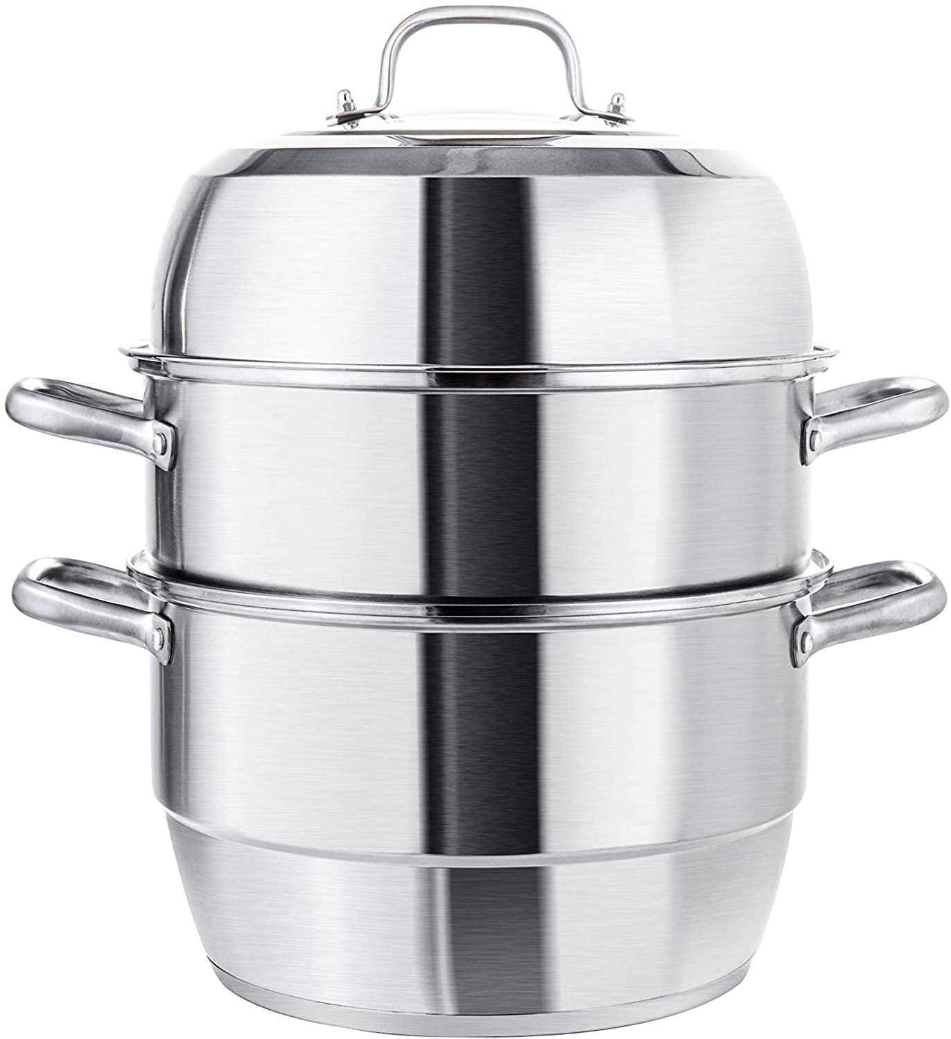 VENTION Heavy Duty Stainless Steel Steamer Pot, Triple-Tier Food Grade Stacked Stream Pot, 19 Quarts