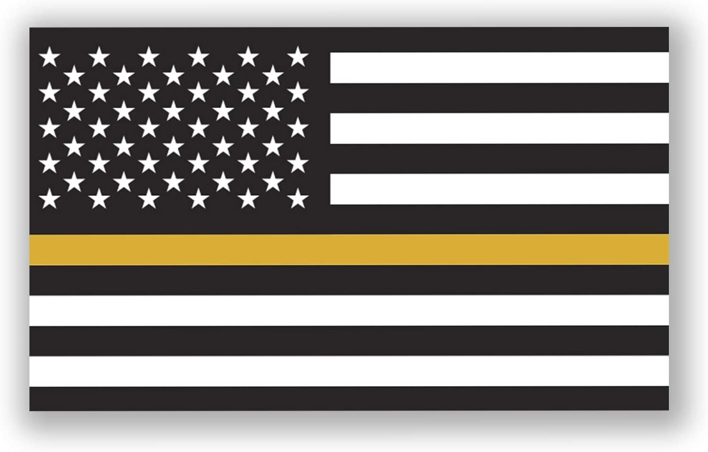 Thin Gold Line Flag 2-Pack Decal Sticker | 5-Inches by 3-Inches | Premium Quality Vinyl | UV Resistant Laminate | PD900