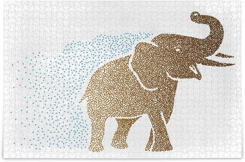 ALAZA Indian Elephant Polka Dots Jigsaw Puzzle Leisure Creative Games 500 Pieces for Adults Children Gift