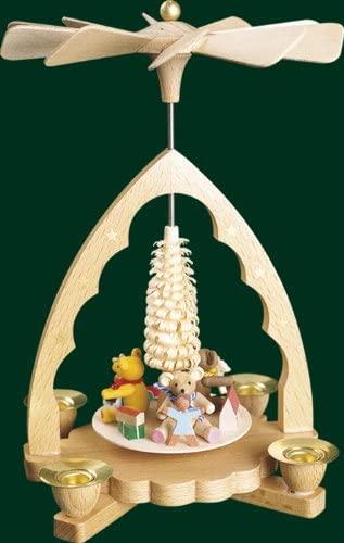 Rudolphs Schatzkiste Table Pyramid with Bear Children Pyramid People Art Seiffen 19cm ore Mountains New