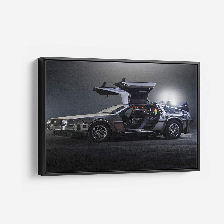 DMC Delorean Back to the Future - Canvas Art Wall Art Home Decor (18in x 24in Modern Black Framed)