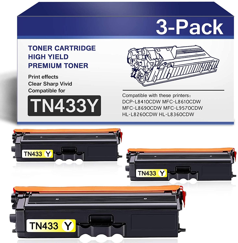 CompatibleTN433Y TonerCartridge forTN-431 InkCartridgeReplacementforBrother HL-L8360CDW HL-L9310CDW HL-L9310CDWTT DCP-L8410CDW MFC-L8690CDW MFC-L9570CDWT Series Printers (3-Yellow).