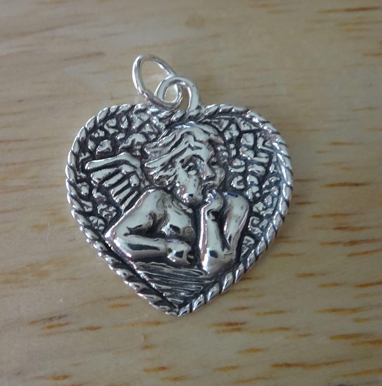 Charm - Sterling Silver - Jewelry - Pendant - Rafael's Angel in a Heart