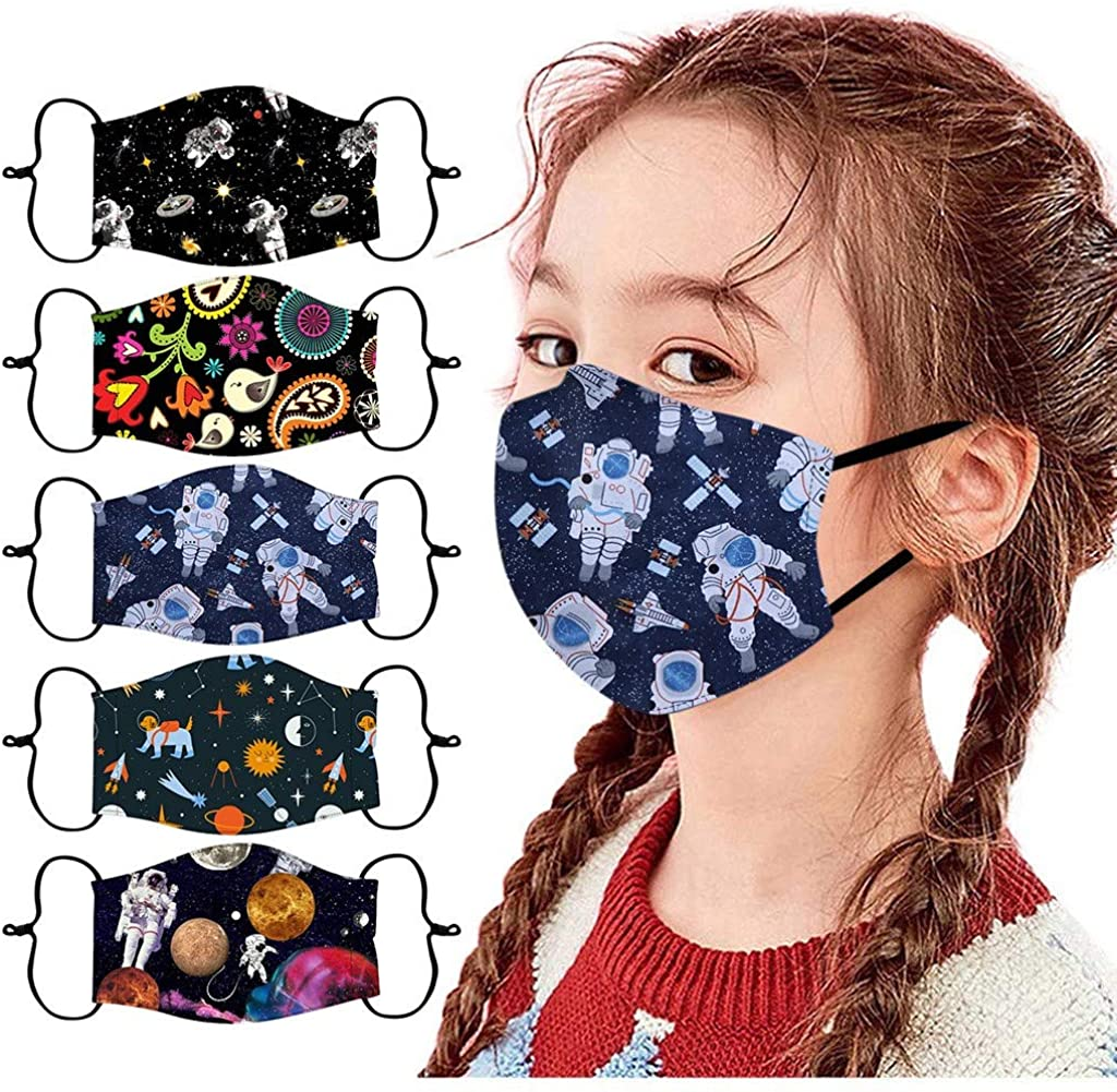 5 PCS kids face_mask reusable washable breathable Cute Print cotton face Covering With adjustable Ear Loop For Children