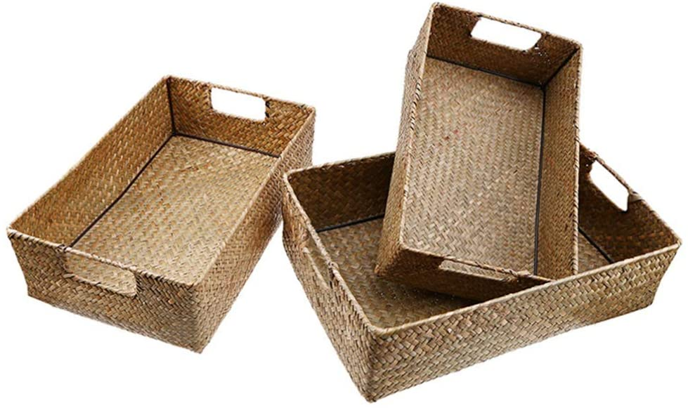Yardwe 4Pcs Handwoven Natural Seagrass Storage Baskets Rectangular Handmade Wicker Baskets with Handles