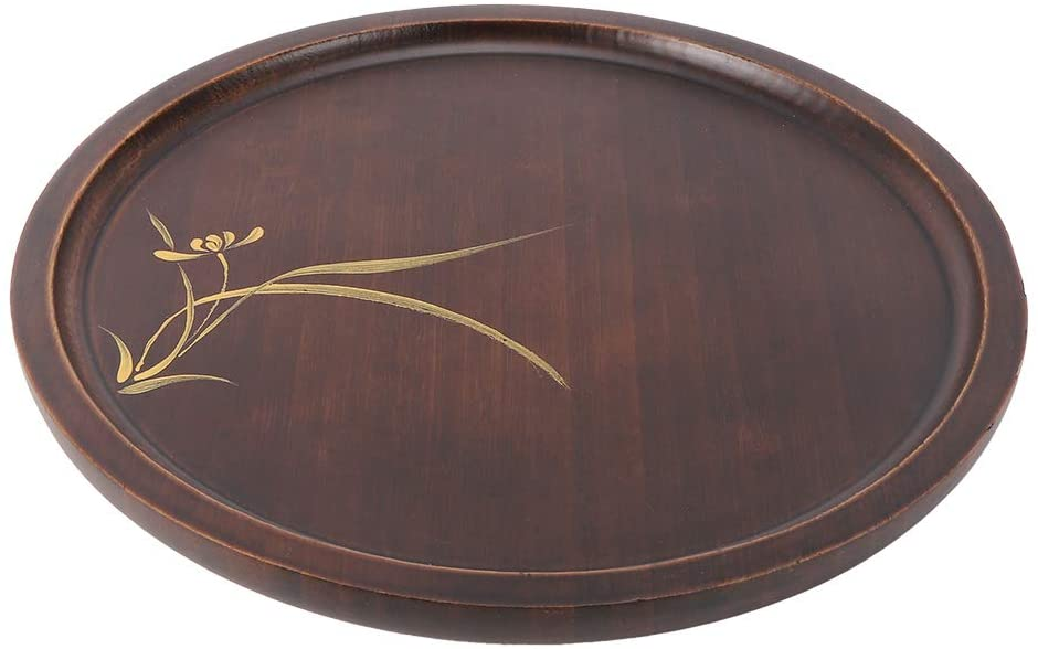 Tea Tray - Bamboo Food Serving Plate Round Tea Tray Snack Platter Household Kitchen Accessory(L)