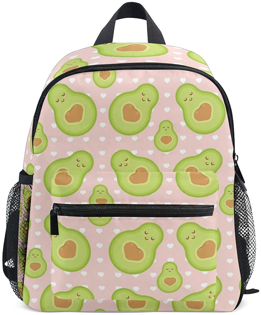 Upgraded Backpack for School Teenagers Girls Boys Avocado Texture With Hearts Travel Bag with Chest Buckle and Whistle