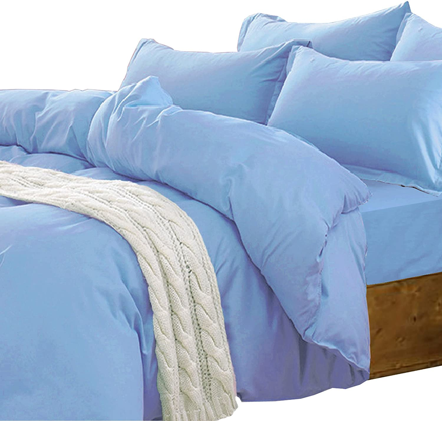 Essina Candies Collection Solid Color King Duvet Cover Set 3pc, Cotton 620 Thread Count, Blue