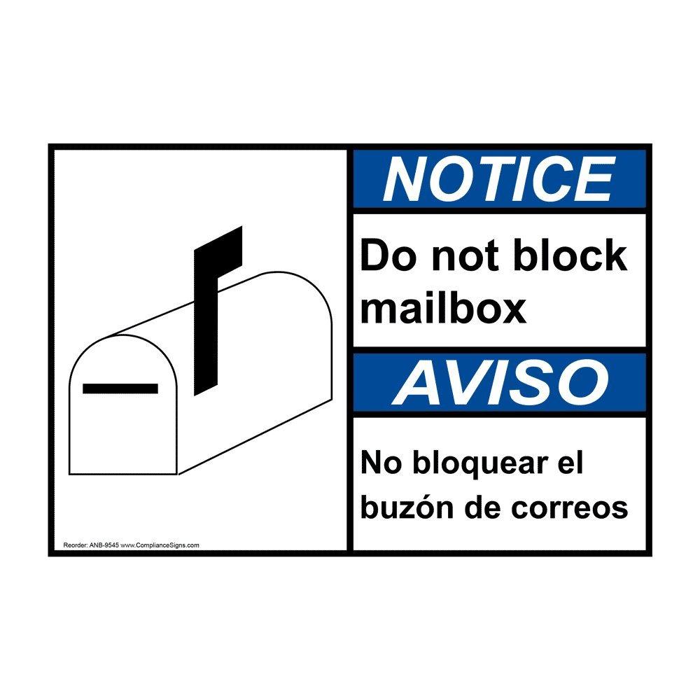 Notice Do Not Block Mailbox - No Bloquear El Buzón De Correos ANSI Safety Sign, 10x7 in. Plastic for Parking Control by ComplianceSigns