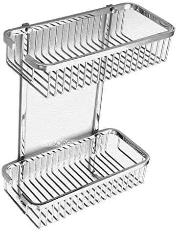 VIBORG Deluxe Solid Thick SUS304 Stainless Steel Wire Wall Mount Mounted Double Tier 2-tier Bathroom Rectangular Shower Basket Caddies Bath Caddy Shelf Organizer Storage Holder for Shampoo Conditioner