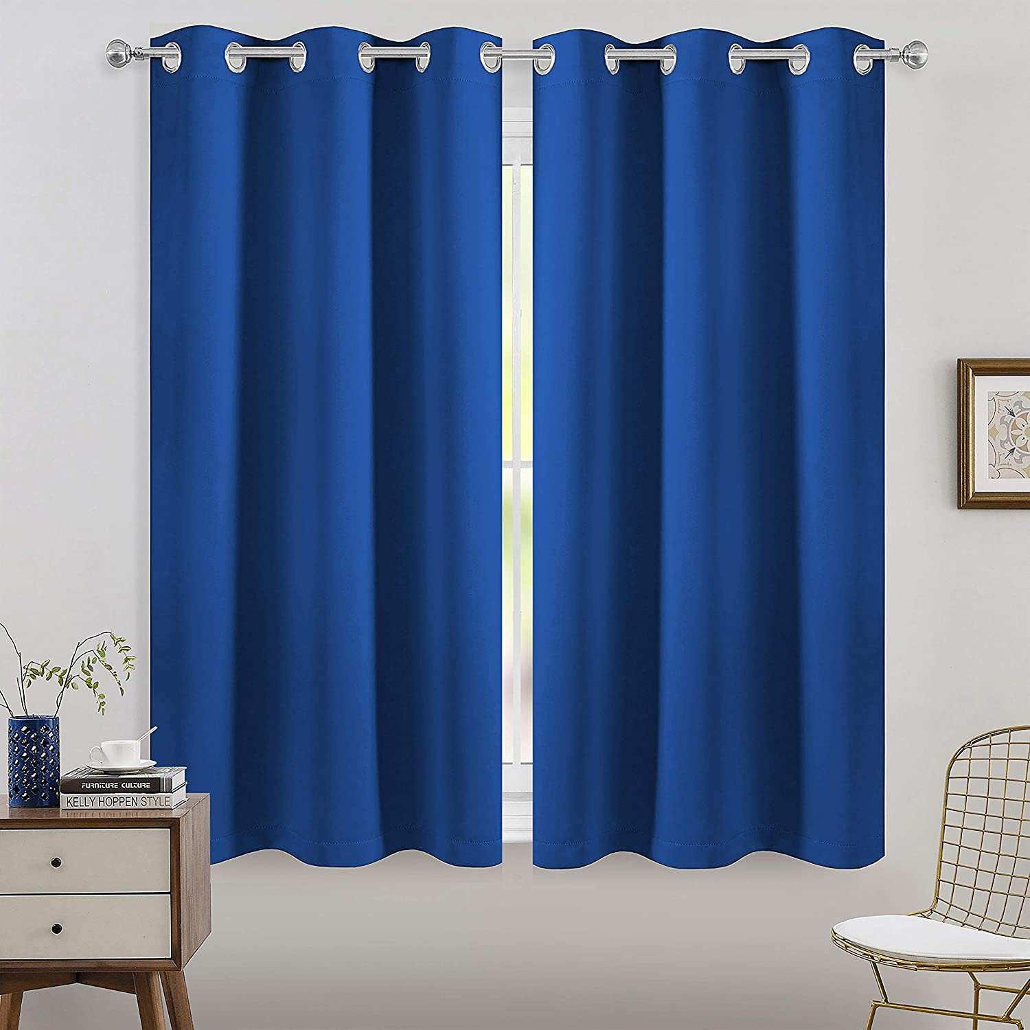 FLOWEROOM Room Darkening Blackout Curtains Thermal Insulated Draperies with Grommet for Living Room, Royal Blue, 42 x 45 inch, 2 Panels