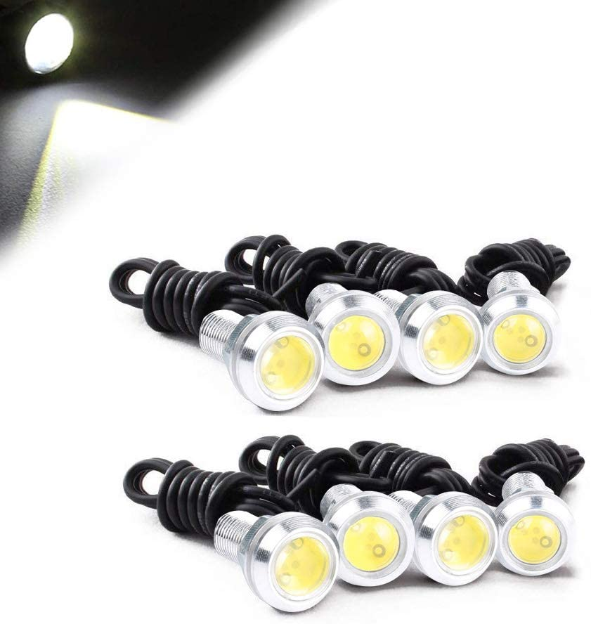 HOTSYSTEM Eagle Eye Led Light Bulbs 9W DC12V 12mm for Off-Road Car ATV Camper Trunk Motorcycle Day Time DRL License Plate Turn Signal Stop Parking Tail Reverse Fog Trunk Backup Light (White,8-Pack)