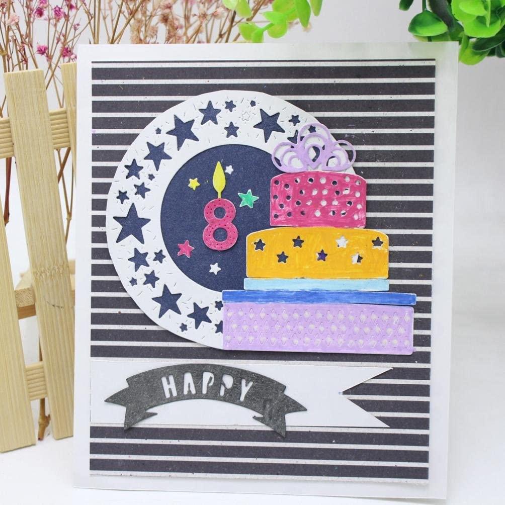 Cutting Dies,Hstore Birthday Envelope Sweet Digital Flowers Paper Card Making Metal Die Cut Stencil Template for DIY Scrapbook Photo Album Embossing Craft Decoration (H)