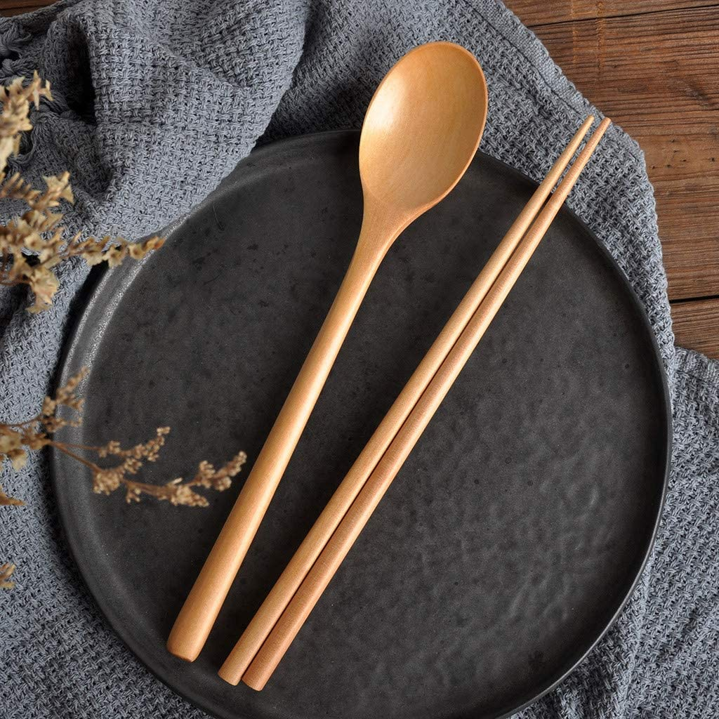 Two-Piece Portable Tableware Set,Wooden Spoon Chopsticks Set Wood Soup for Eating Mixing Strring Handle Kitchen Tools for Home Dinner,Family Banquet,Party