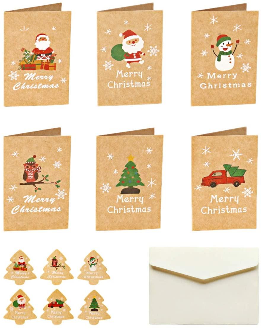 Merry Christmas Holiday Greeting Card Winter Holiday Xmas Kraft Retro Greeting Cards DIY Sticker